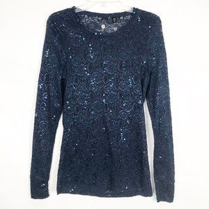 BKE I Long Sleeve Blue Lace Sequin Sweater